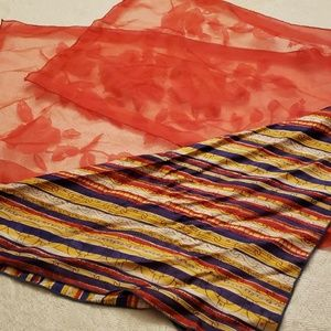 Lot of 2 Vintage Scarves Red Nylon & Chain Print
